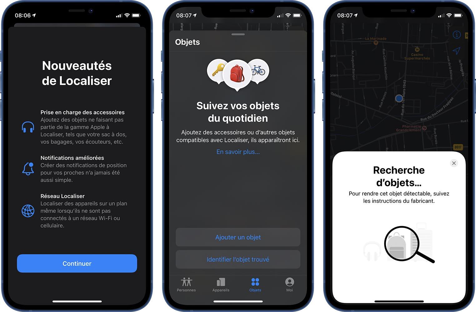 iOS 14.3 recherche d'objets