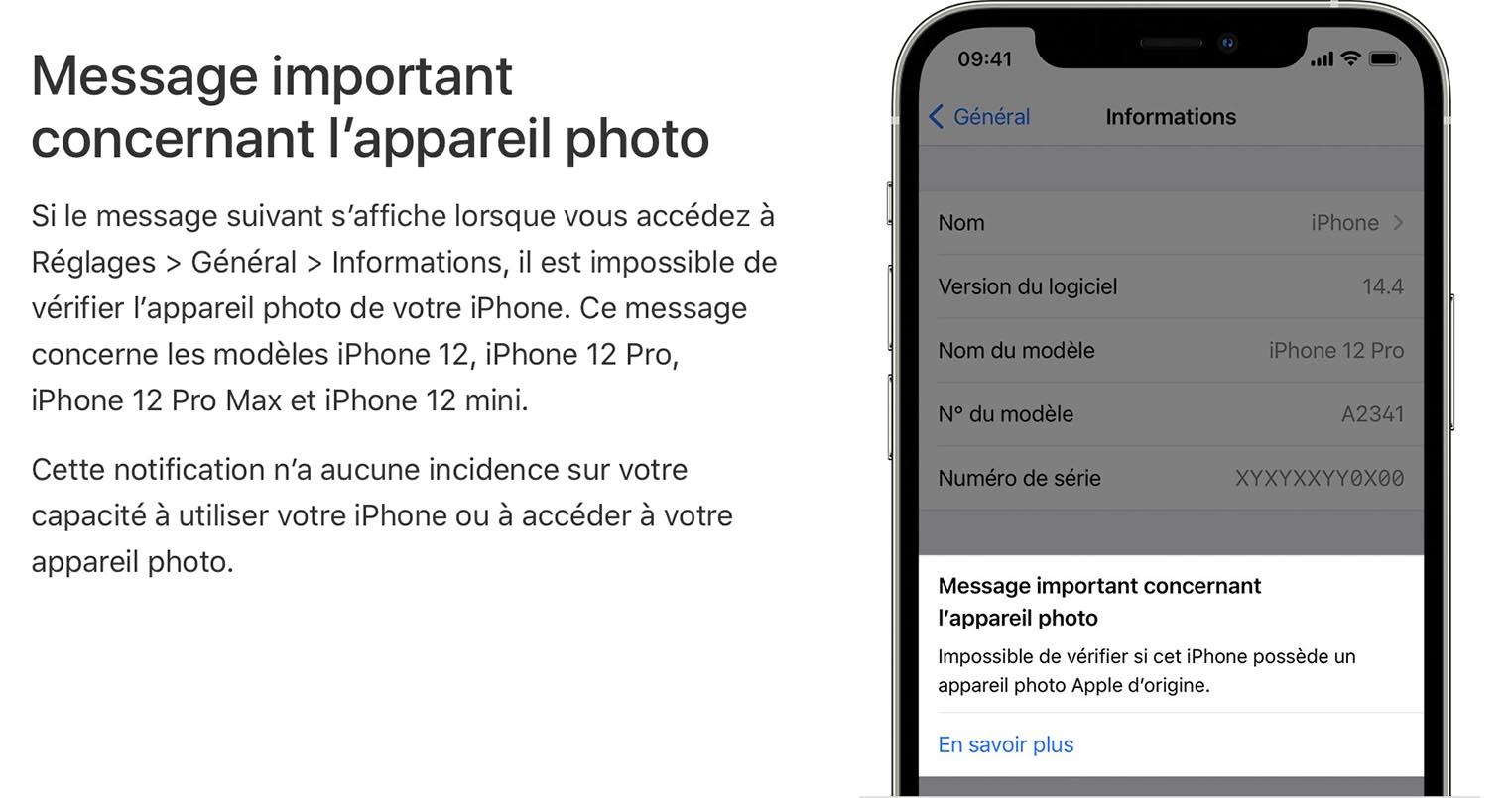 iOS 14.4 Message important concernant l'appareil photo