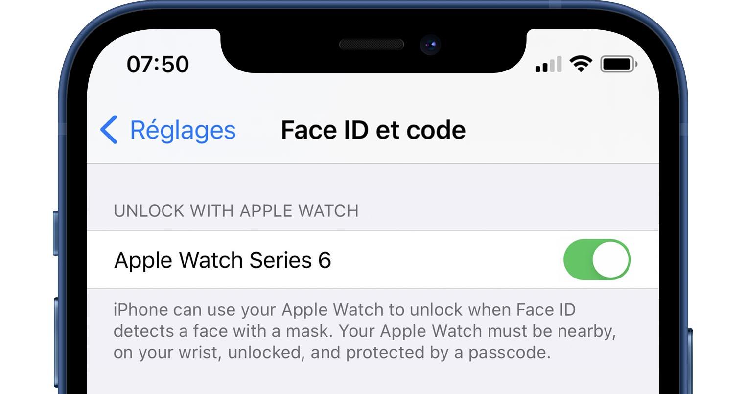 iOS 14.5 déverrouiller avec l'Apple Watch