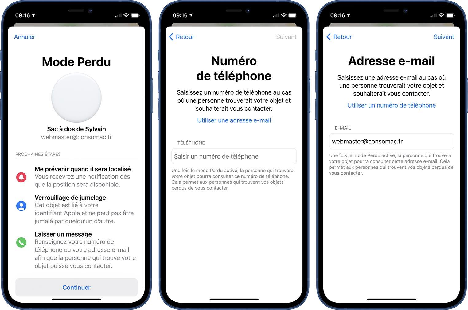 AirTag iOS 14.6 Mode perdu e-mail
