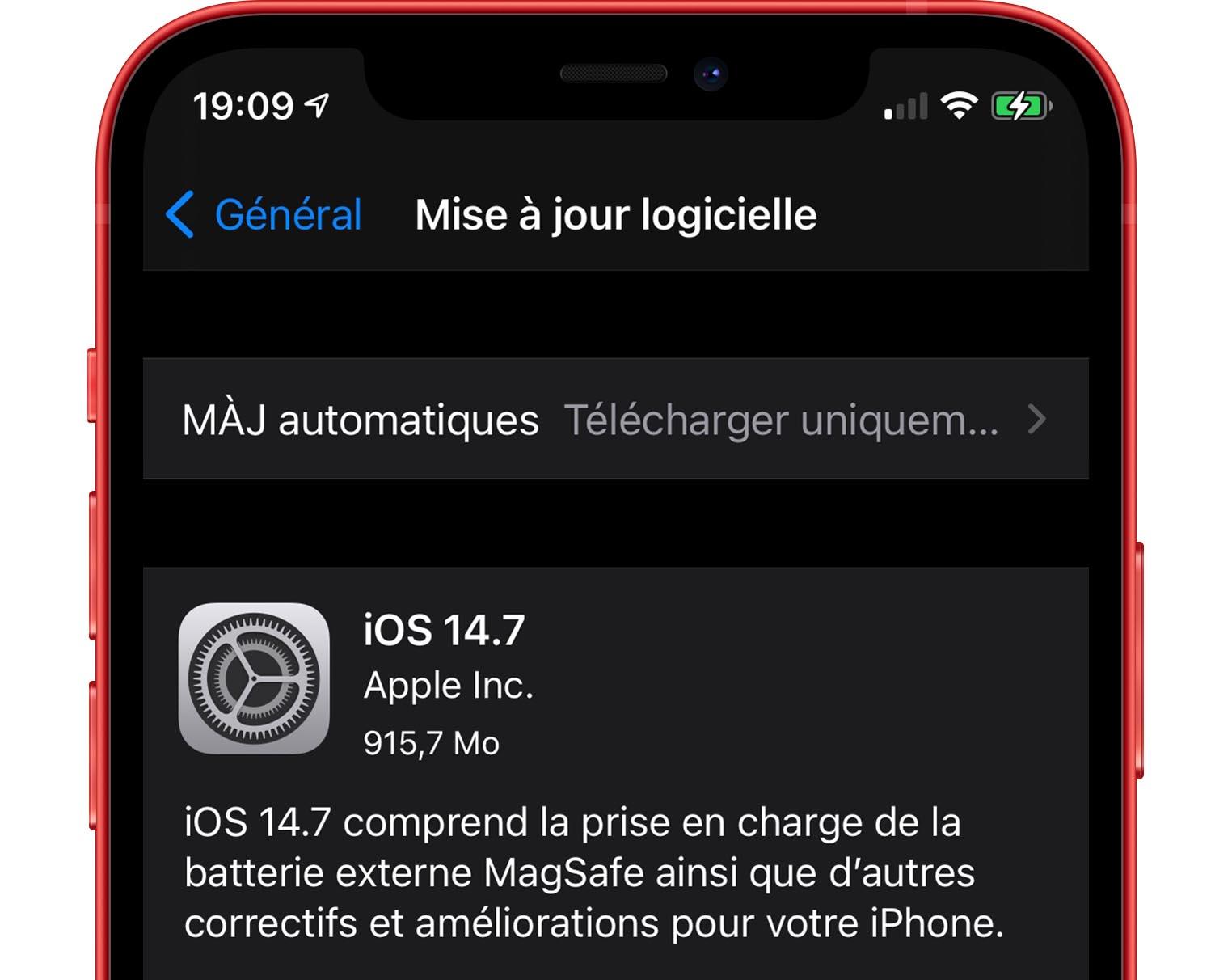 Mise à jour iOS 14.7