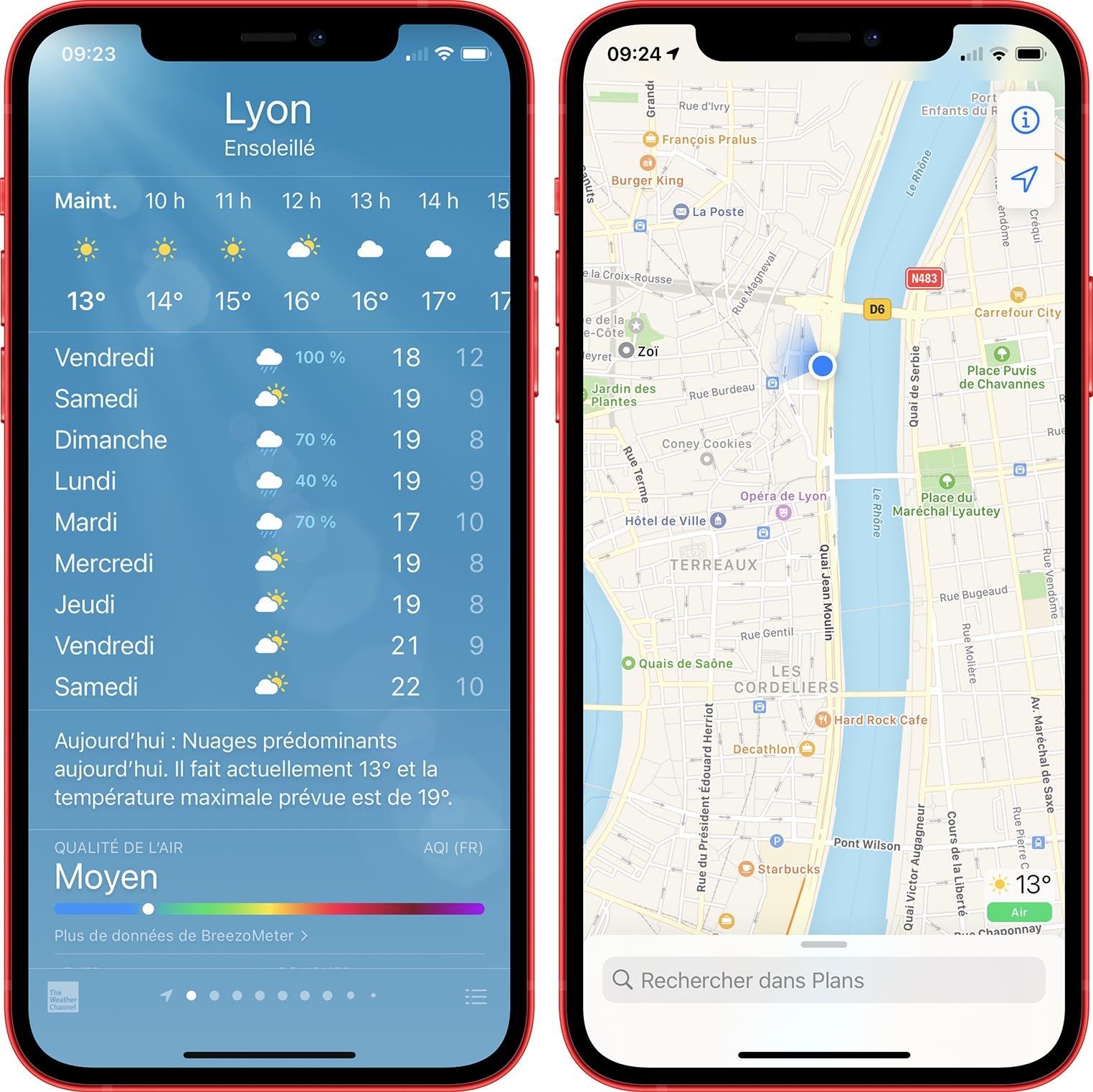 Qualité de l'air Météo iOS 14.7