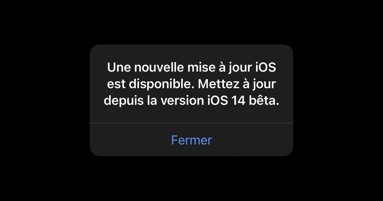 iOS 14 bêta notification mise à jour