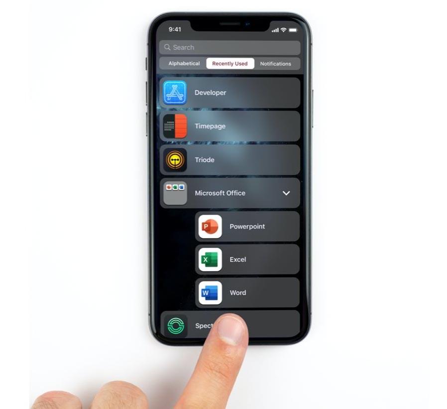 iOS 14 écran d'accueil liste