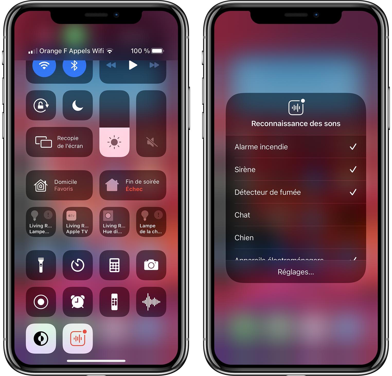 iOS 14 Reconnaissance des sons Centre de contrôle