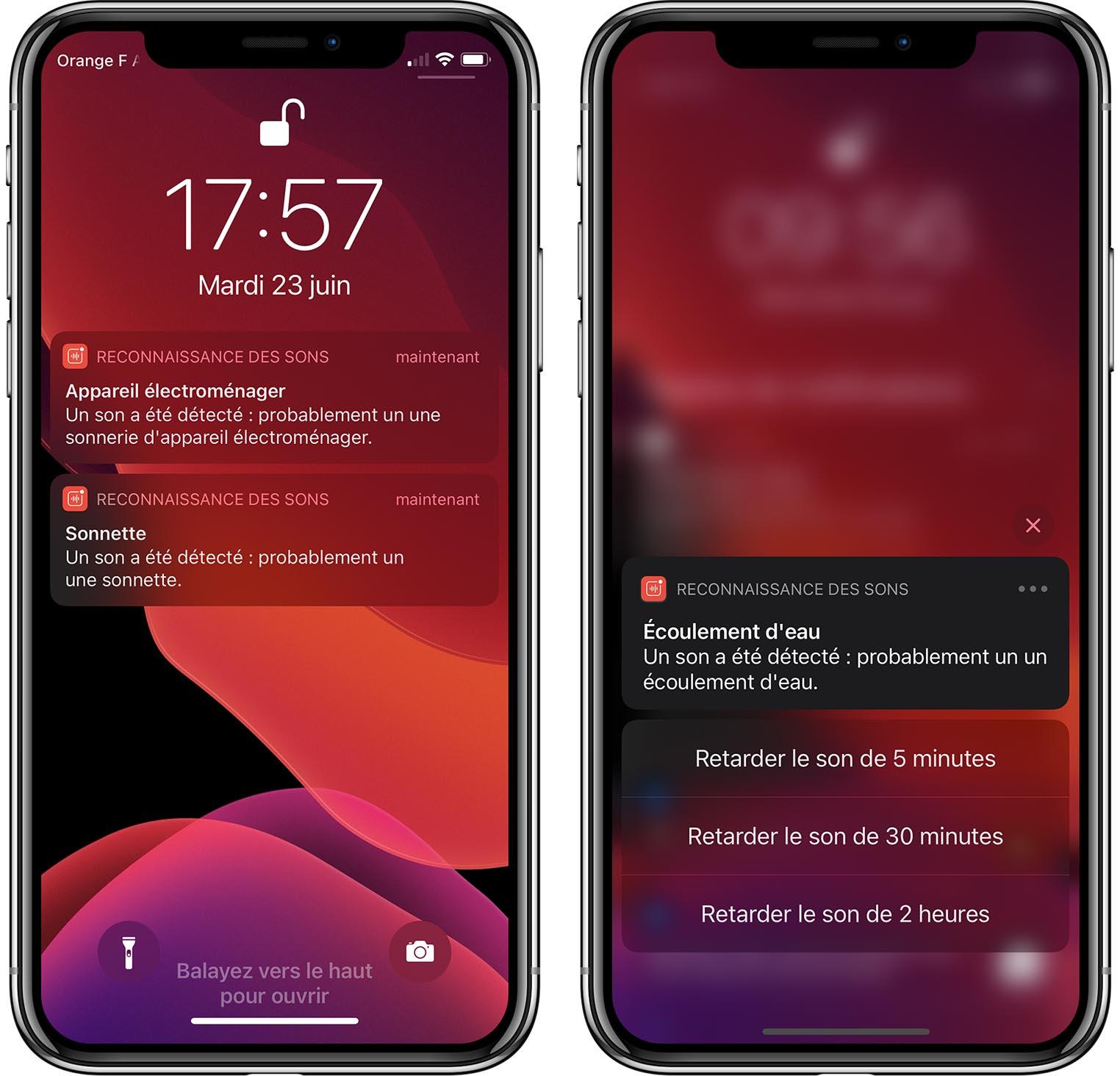iOS 14 Reconnaissance des sons notification