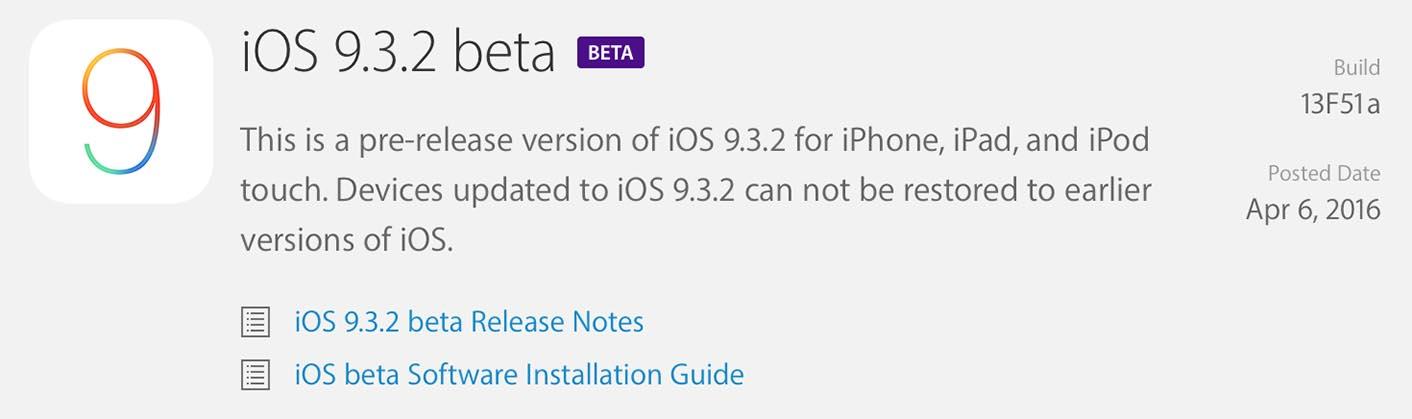 iOS 9.3.2 Bêta