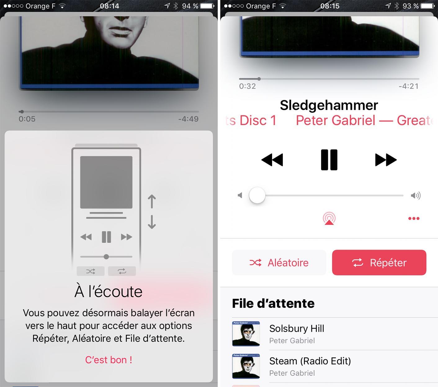 iOS 10.2 Musique