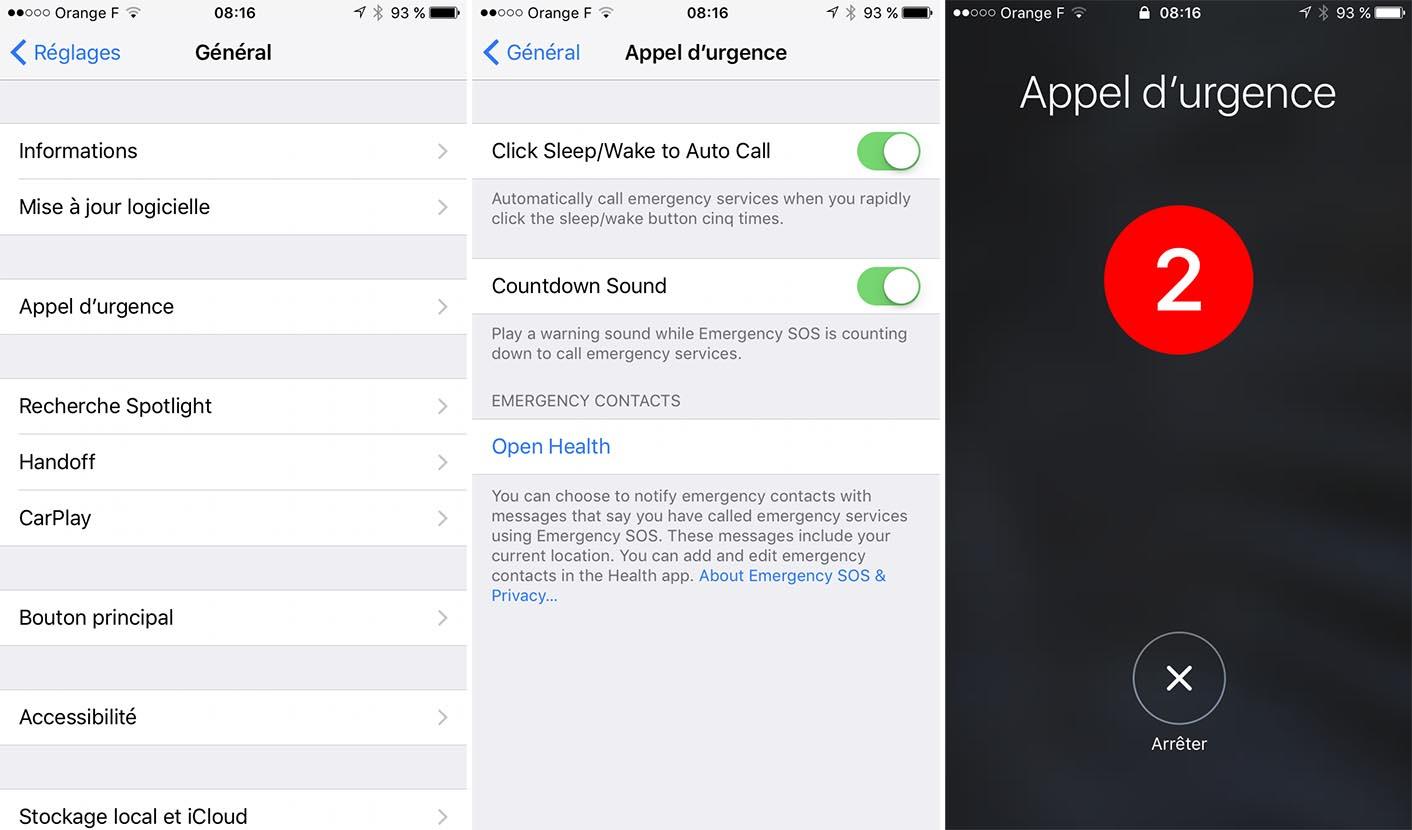 iOS 10.2 Urgences