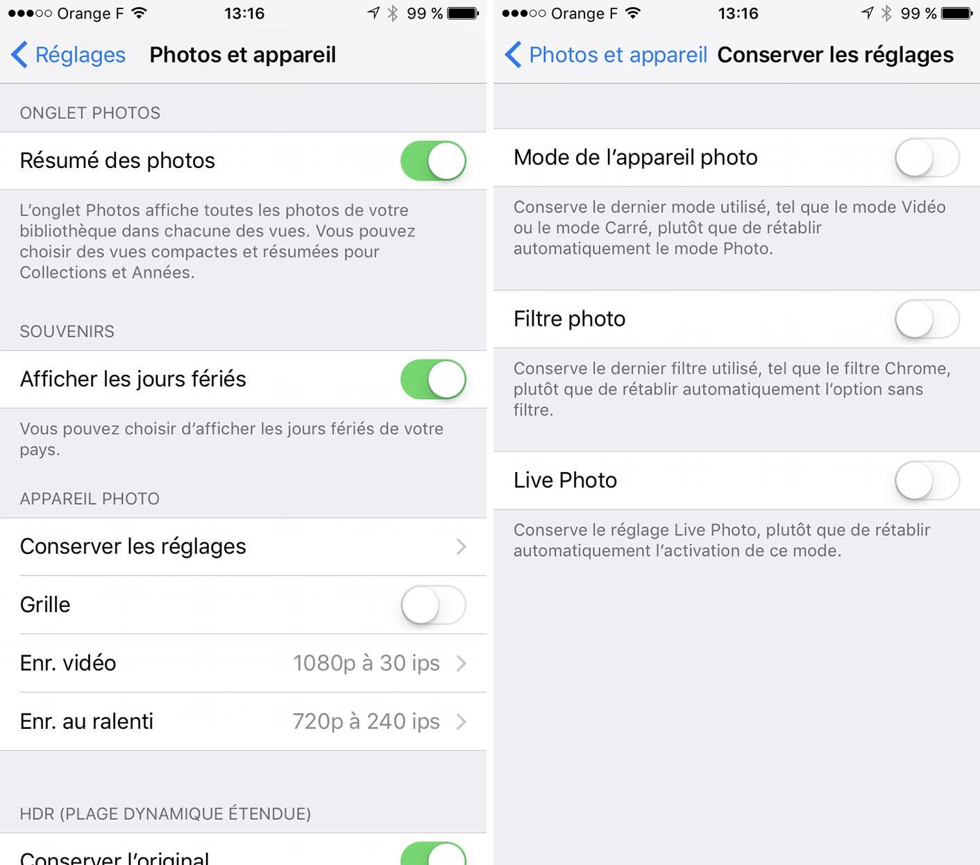 iOS 10.2 appareil photo réglages