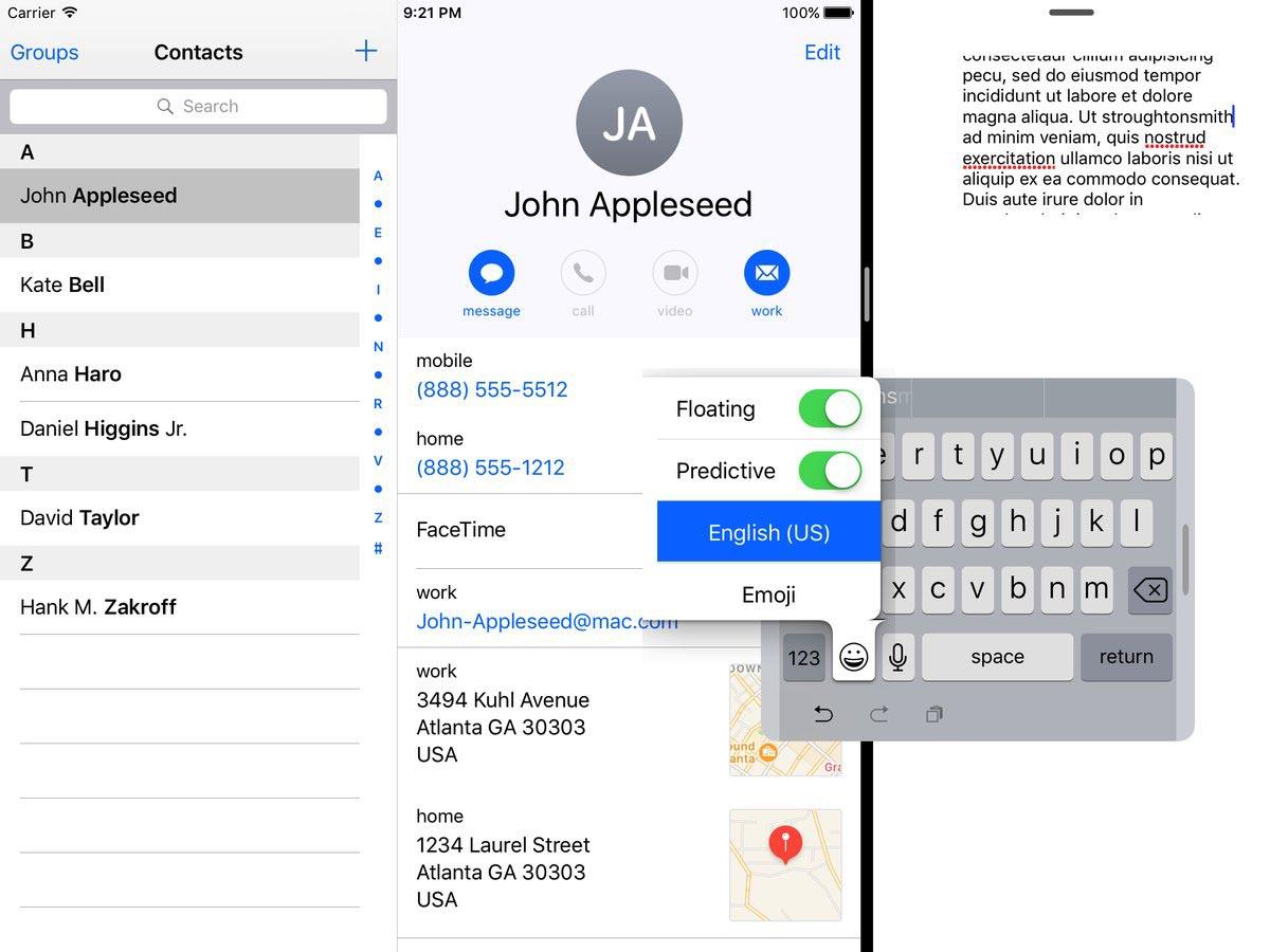 iOS 10.3 clavier flottant iPad