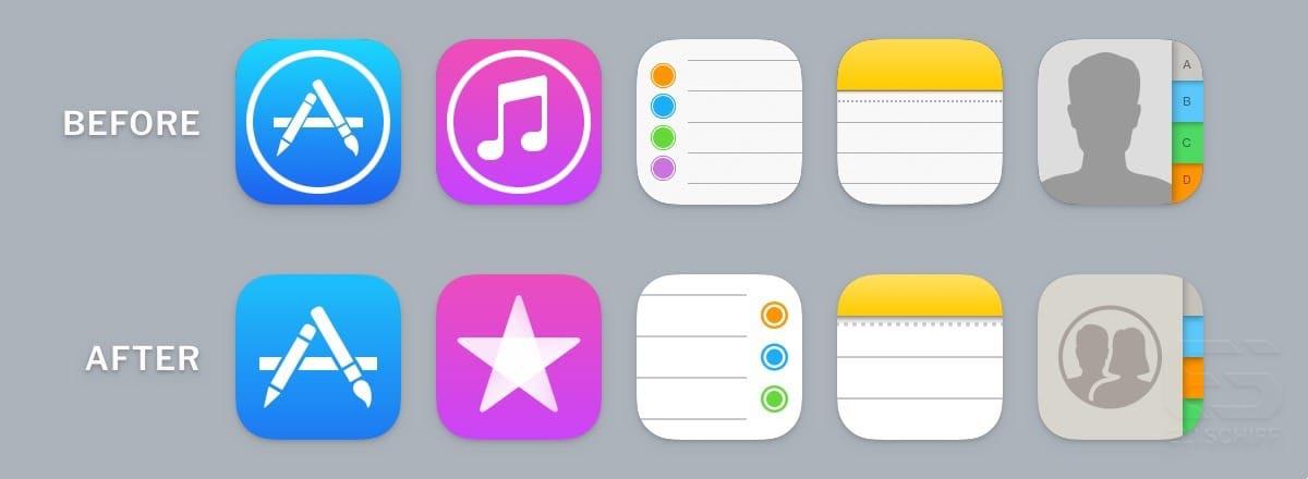 iOS 11 beta 4 icônes