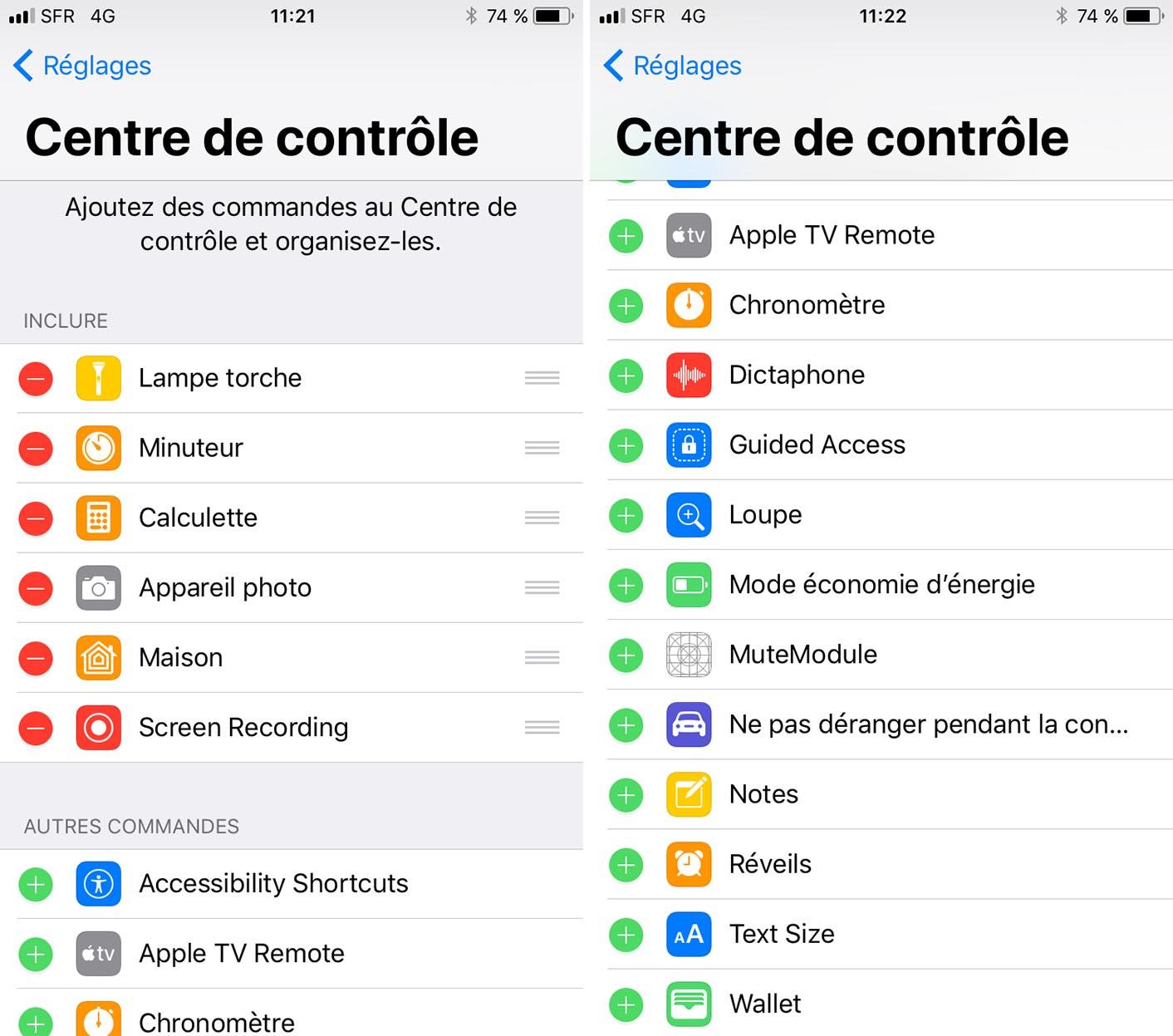 iOS 11 Réglages centre de contrôle