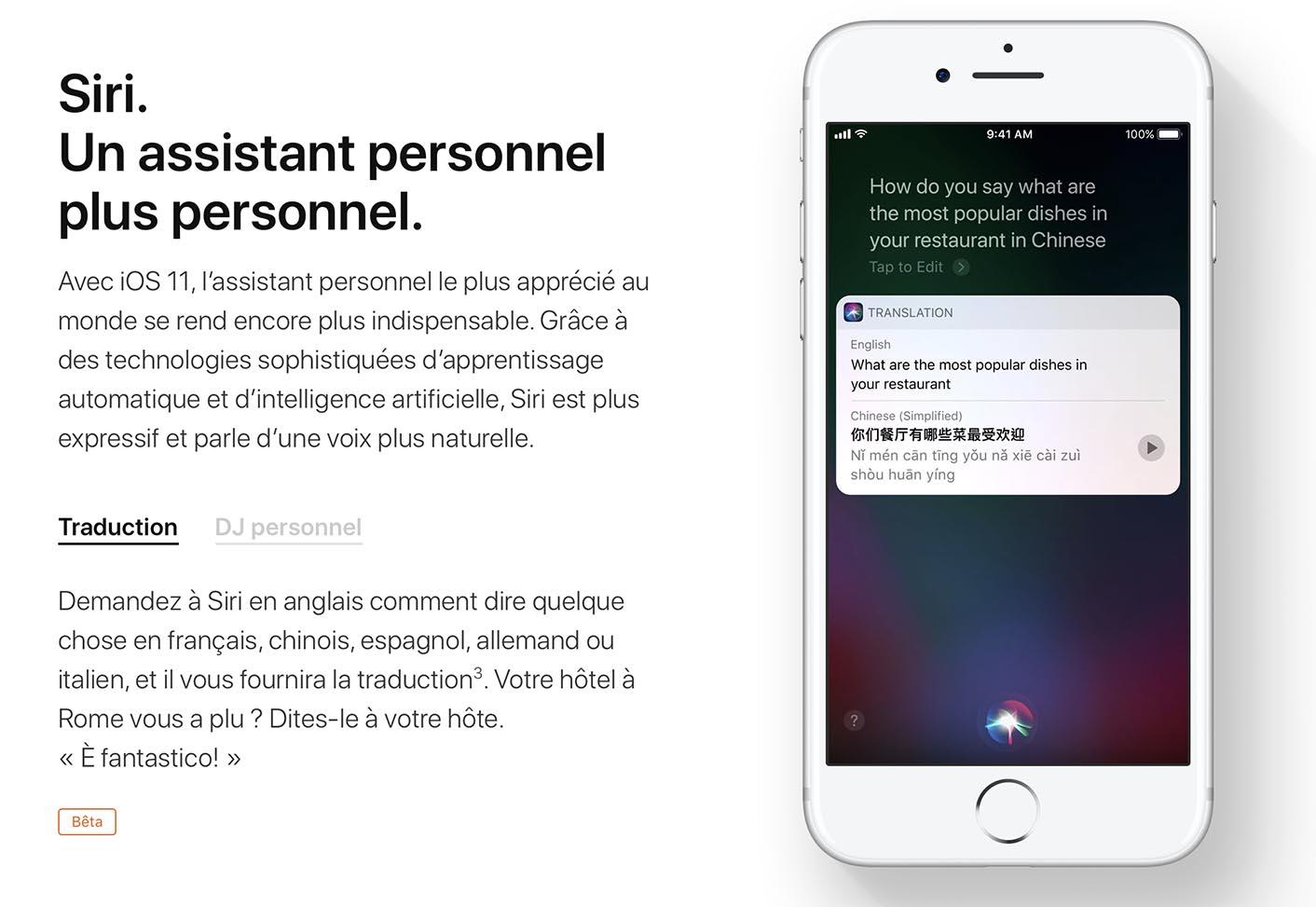 iOS 11 Traduction Siri