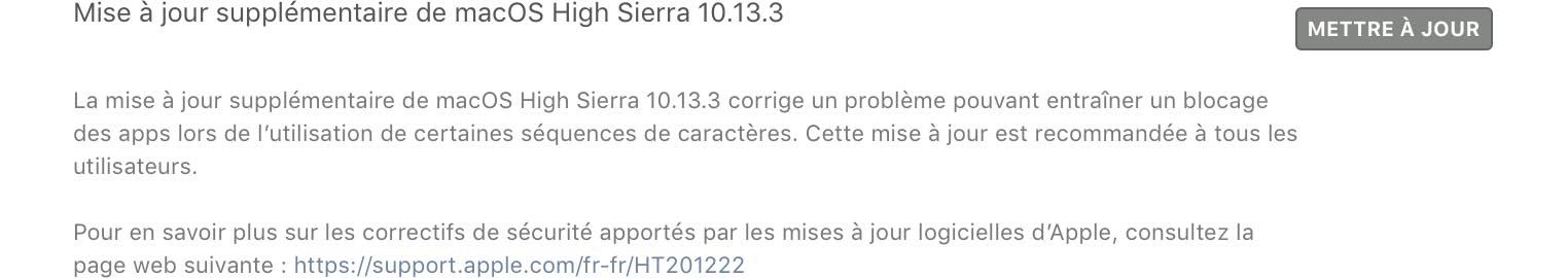macOS 10.13.3 mise à jour supplémentaire