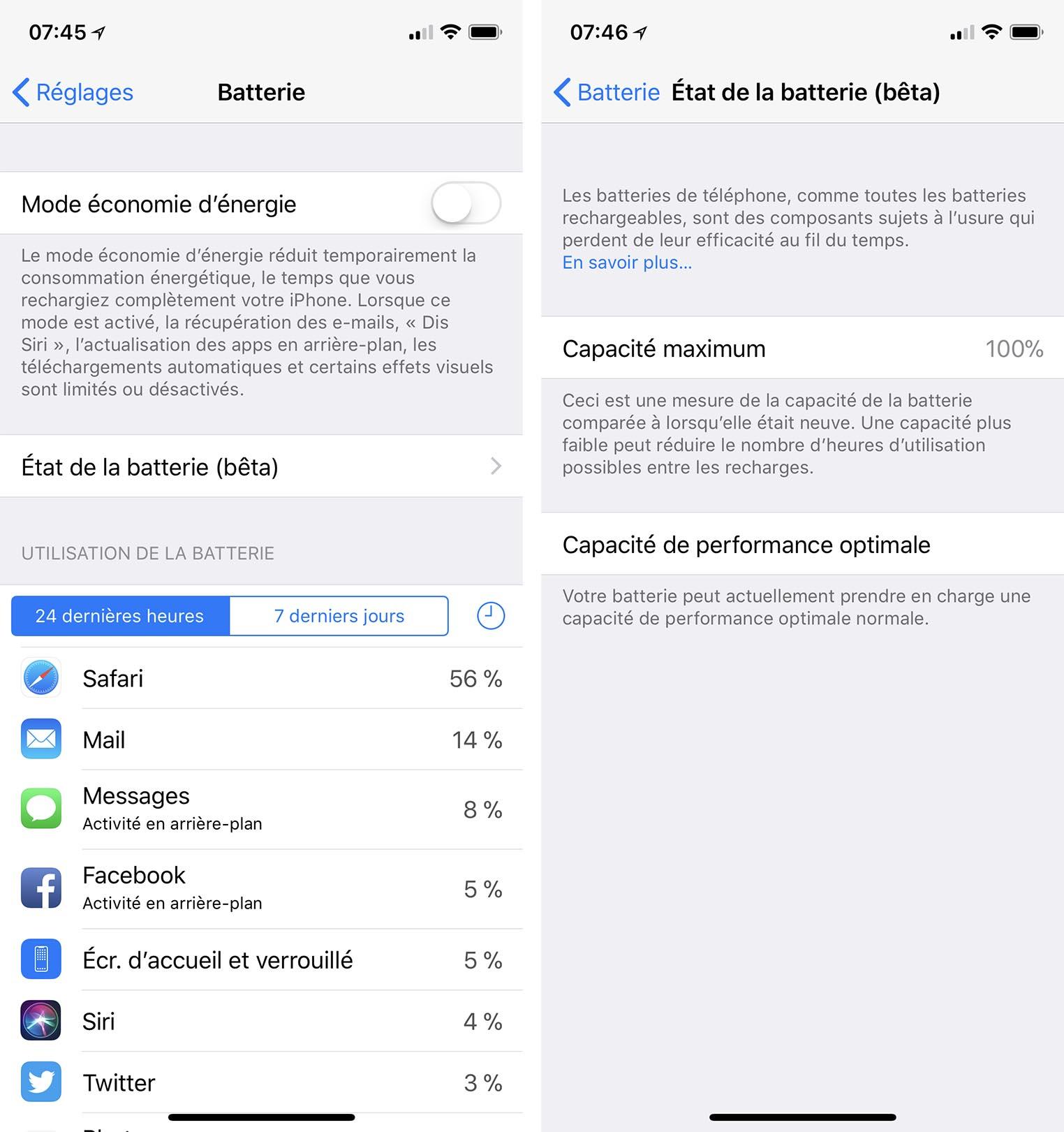 iOS 11.3 état de la batterie