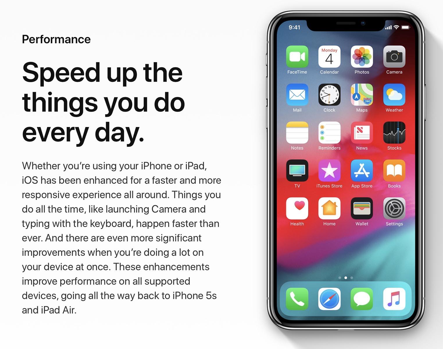 iOS 12 Performances