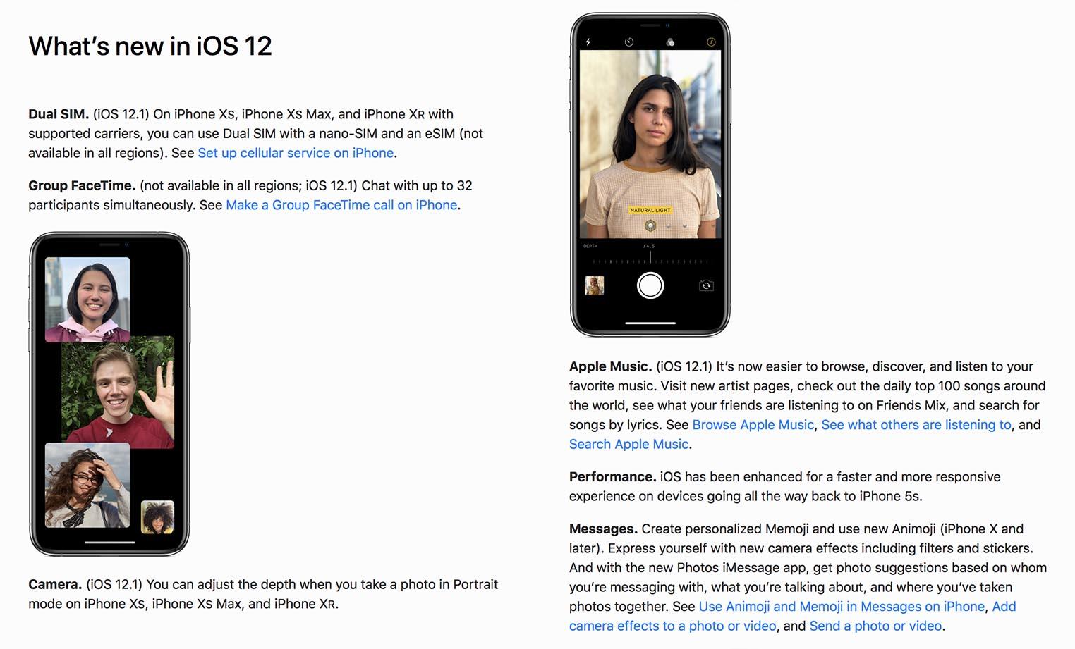 Nouveautés iOS 12.1