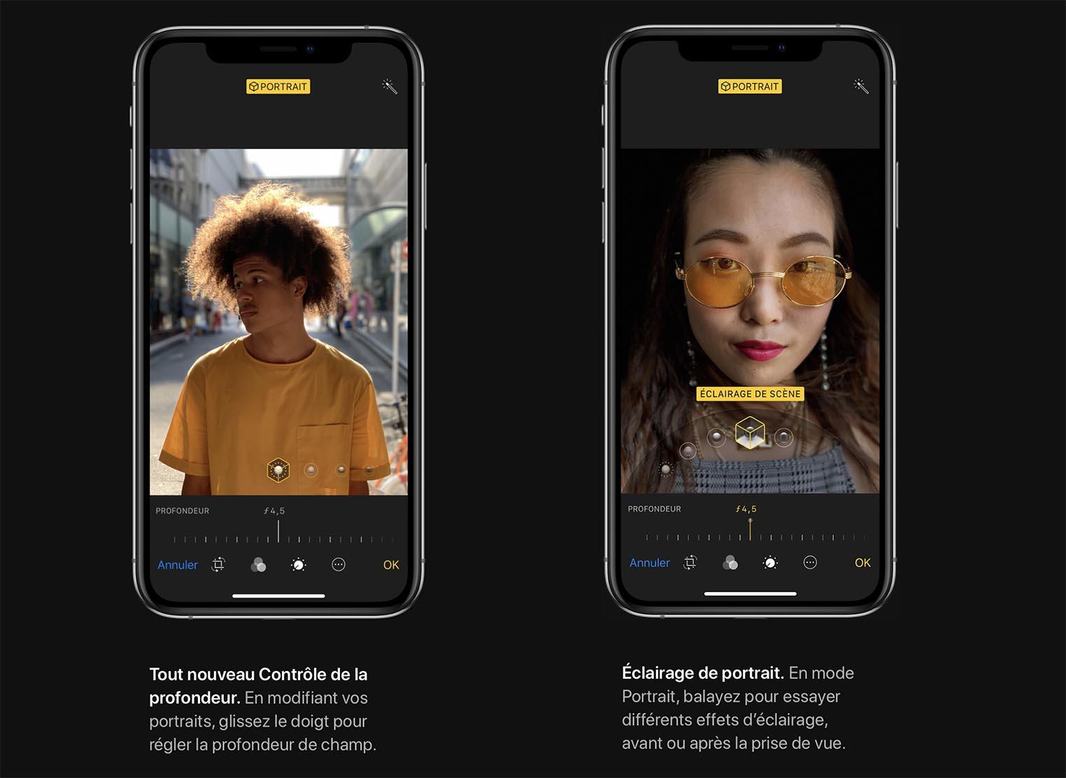Mode portrait iPhone XS