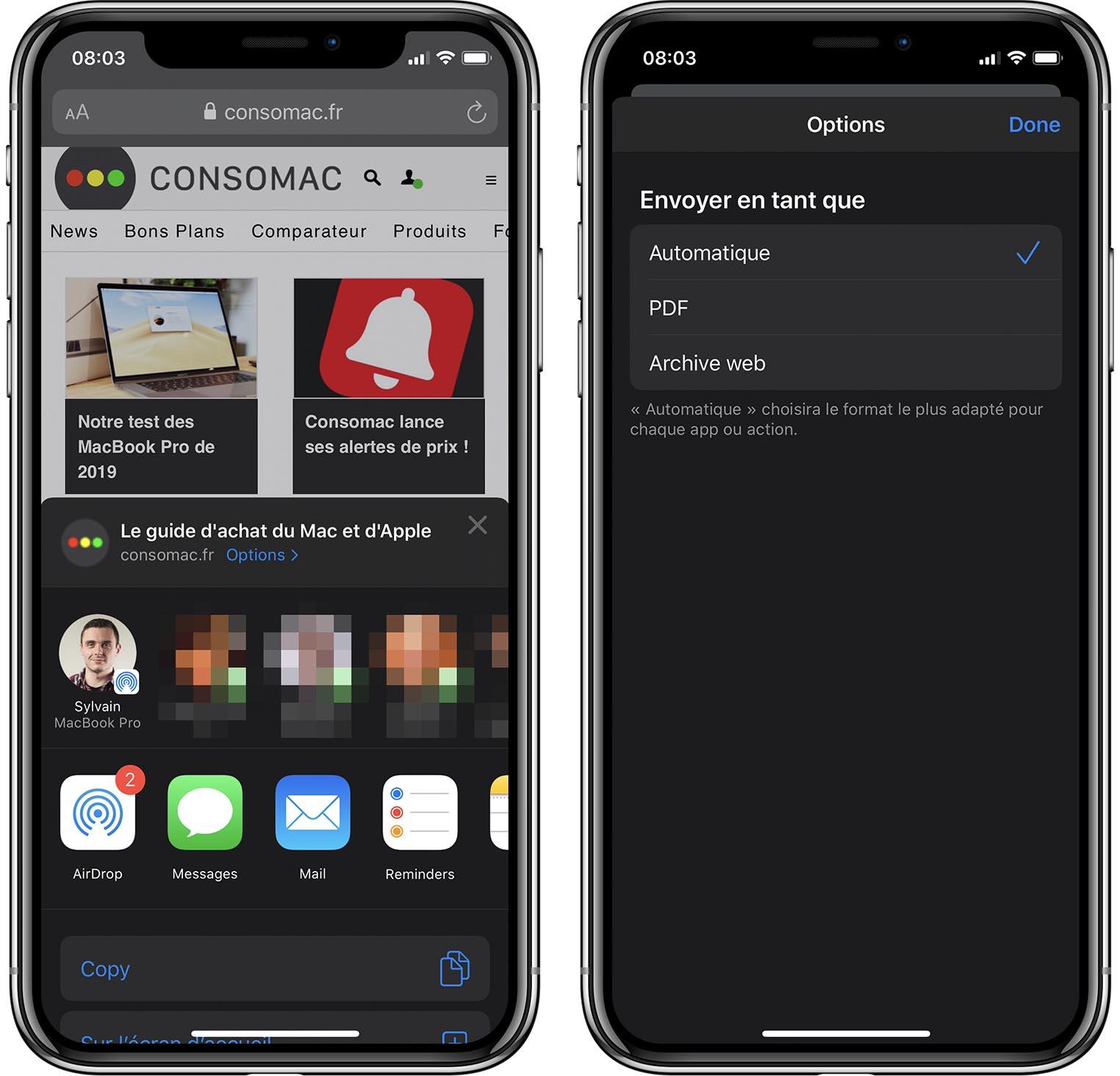 iOS 13 Bêta 2 partage