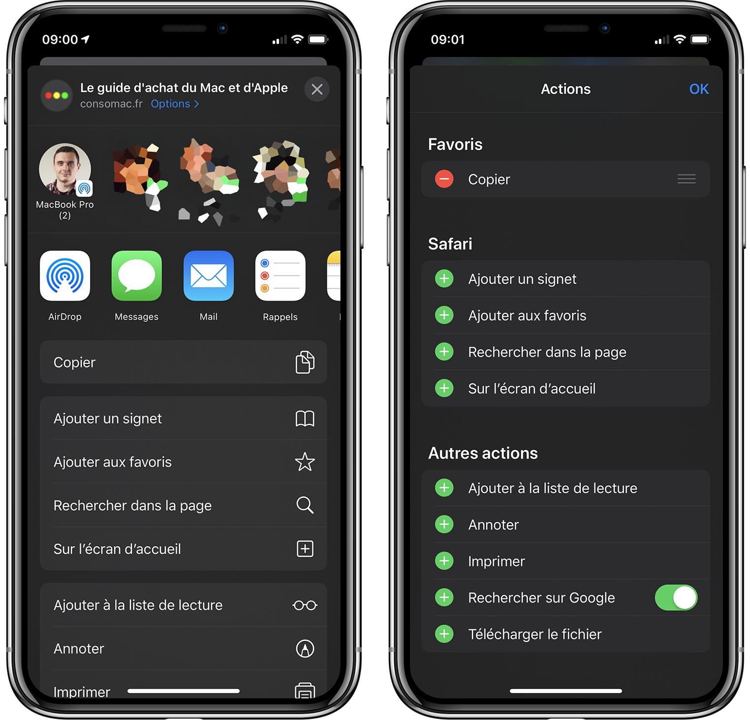 iOS 13 panneau partage