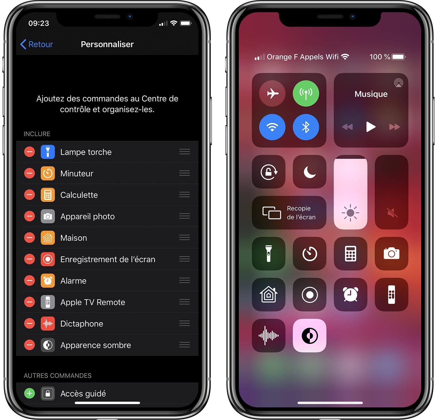 iOS 13 Bêta 6 mode sombre centre de contrôle