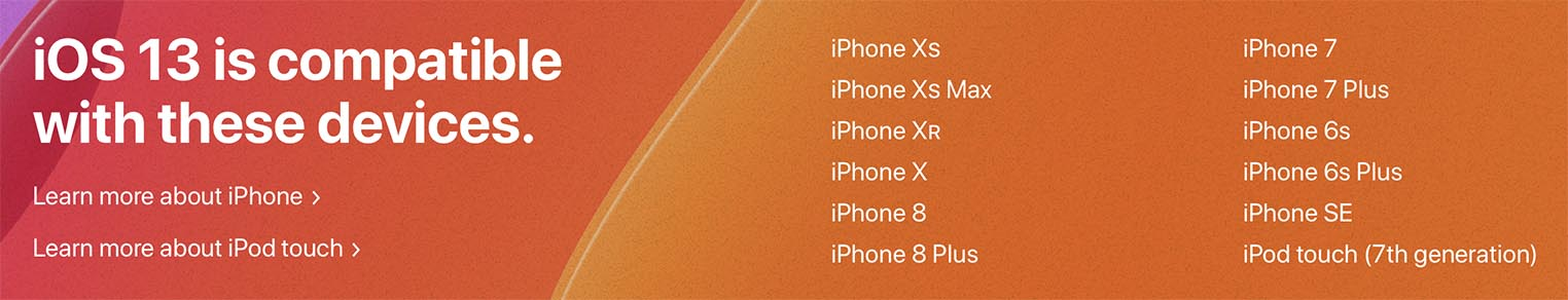 iOS 13 compatibilité iPhone