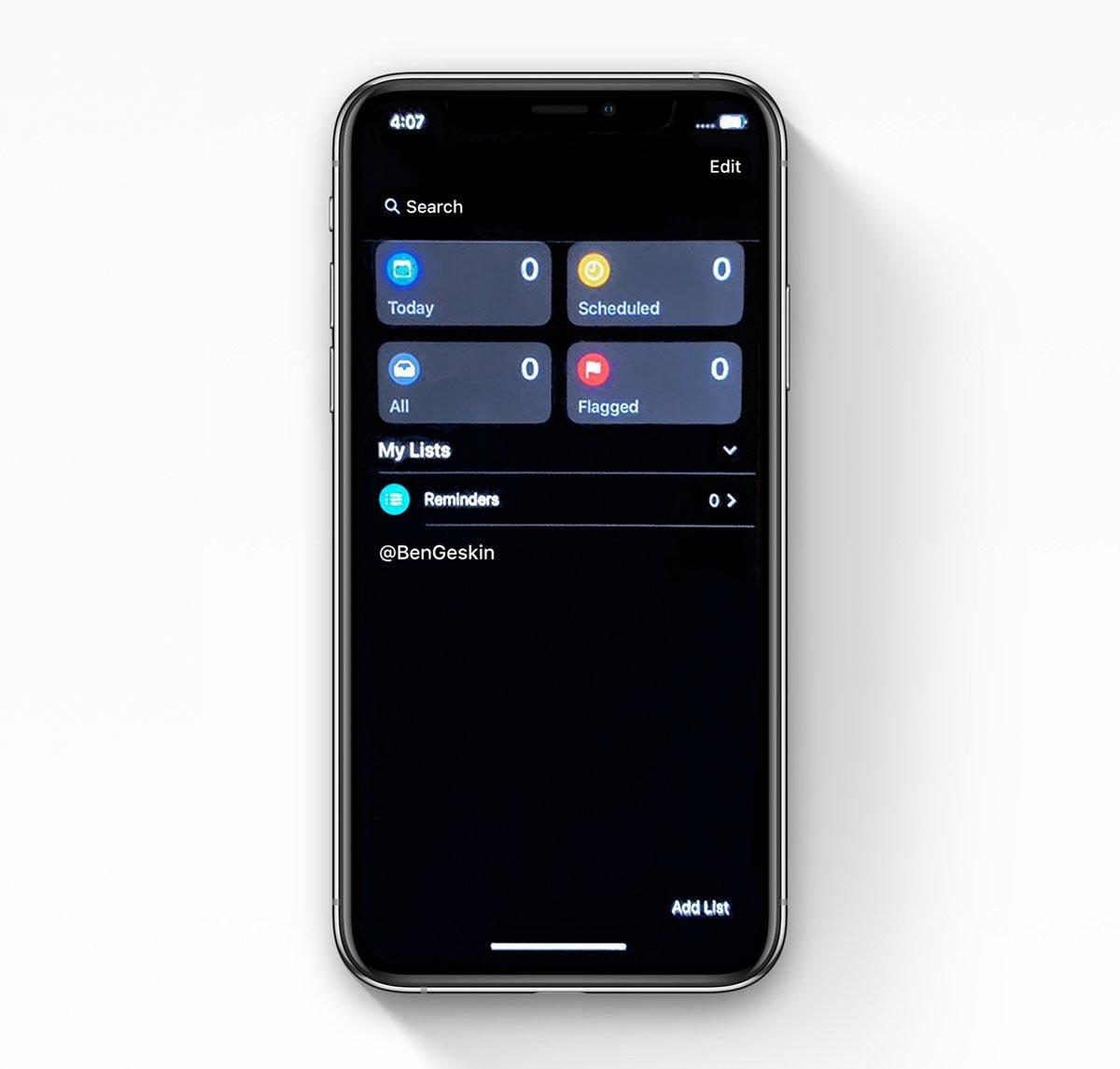 iOS 13 copie d'écran Rappels