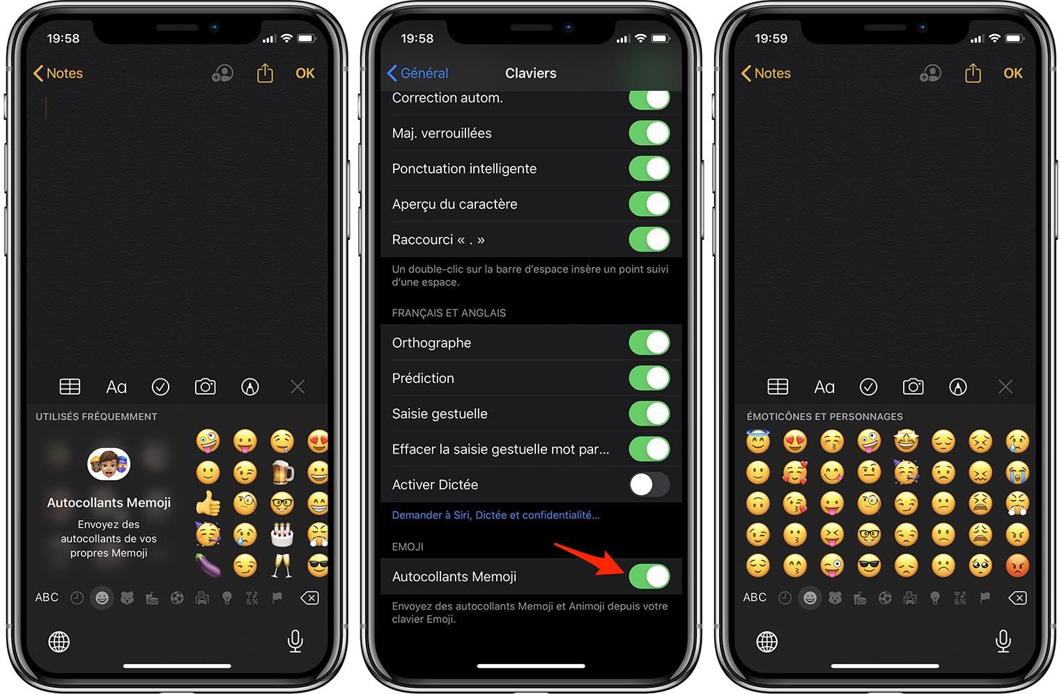 iOS 13.3 Autocollants Memoji