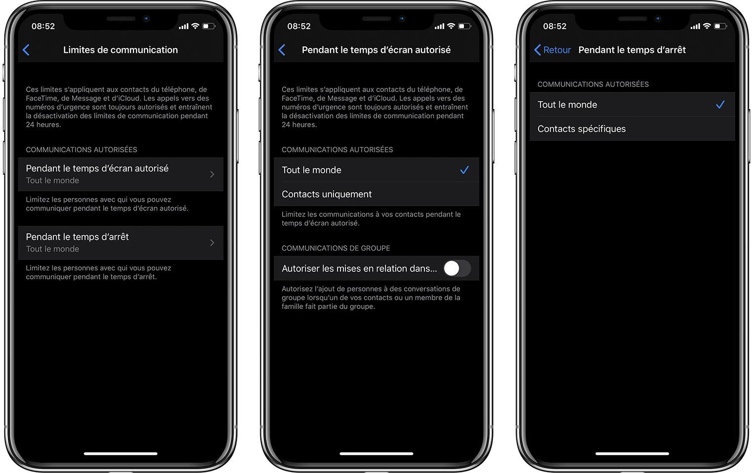 iOS 13.3 Temps d'écran
