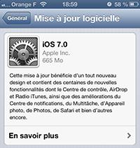 iOS 7 mise à jour