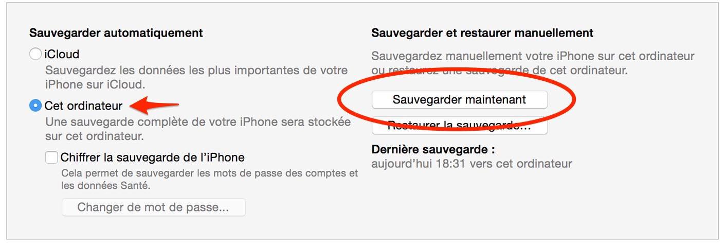 iOS 9 sauvegarde iTunes