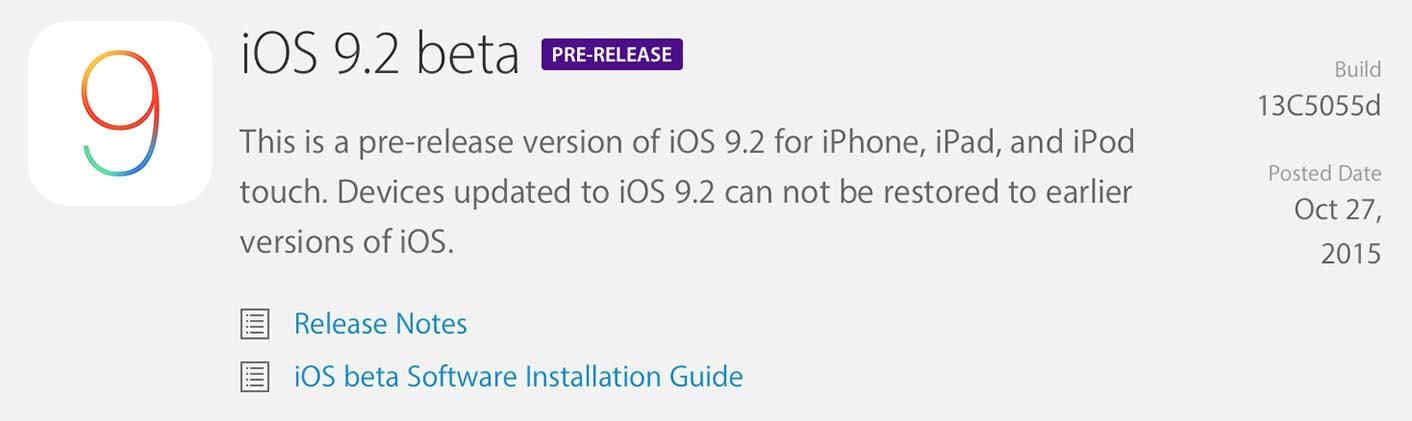 iOS 9.2 Bêta 1