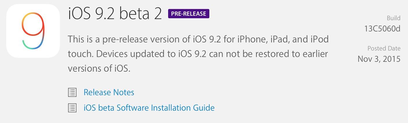 iOS 9.2 Bêta 2