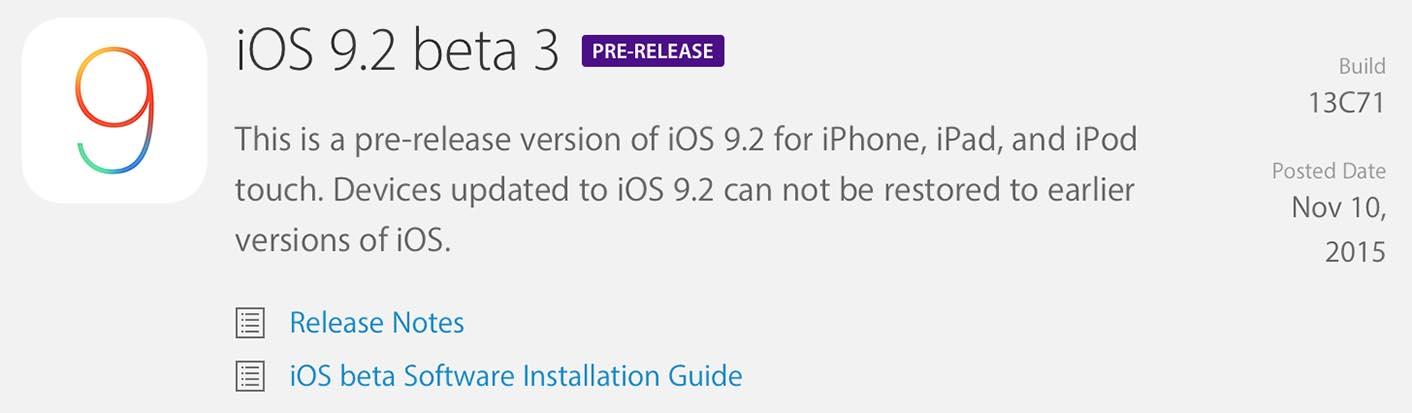 iOS 9.2 Bêta 3