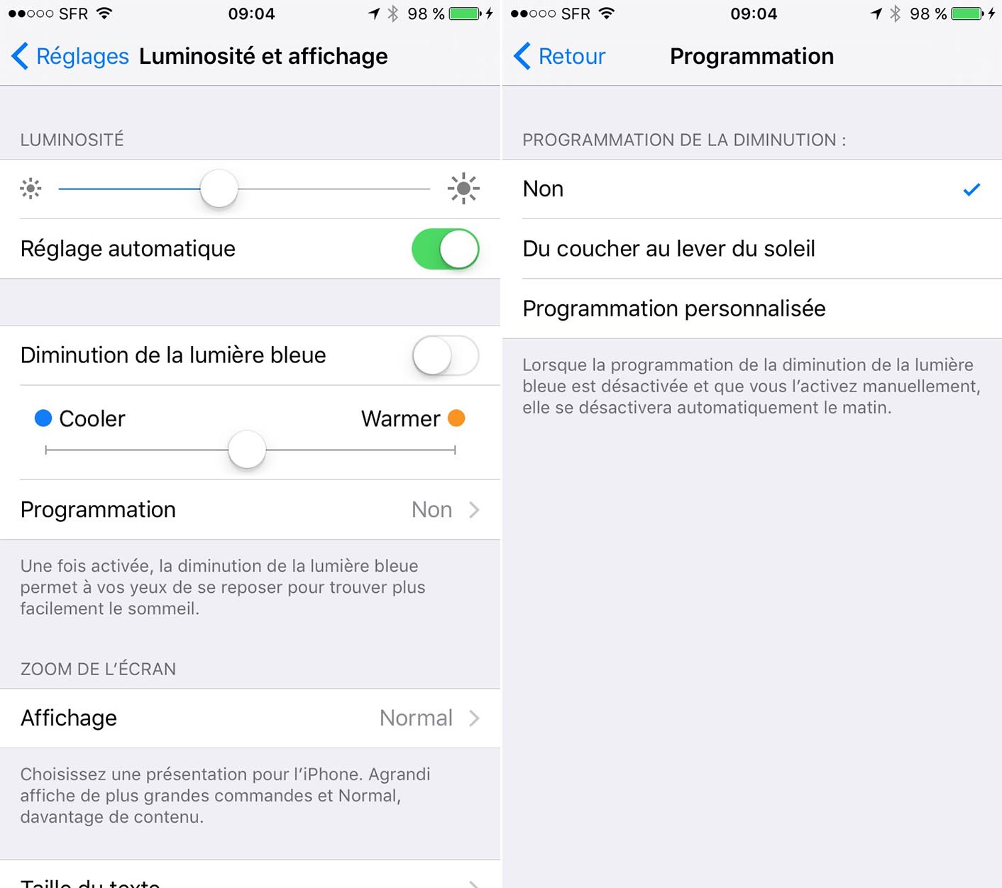 iOS 9.3 Mode nuit