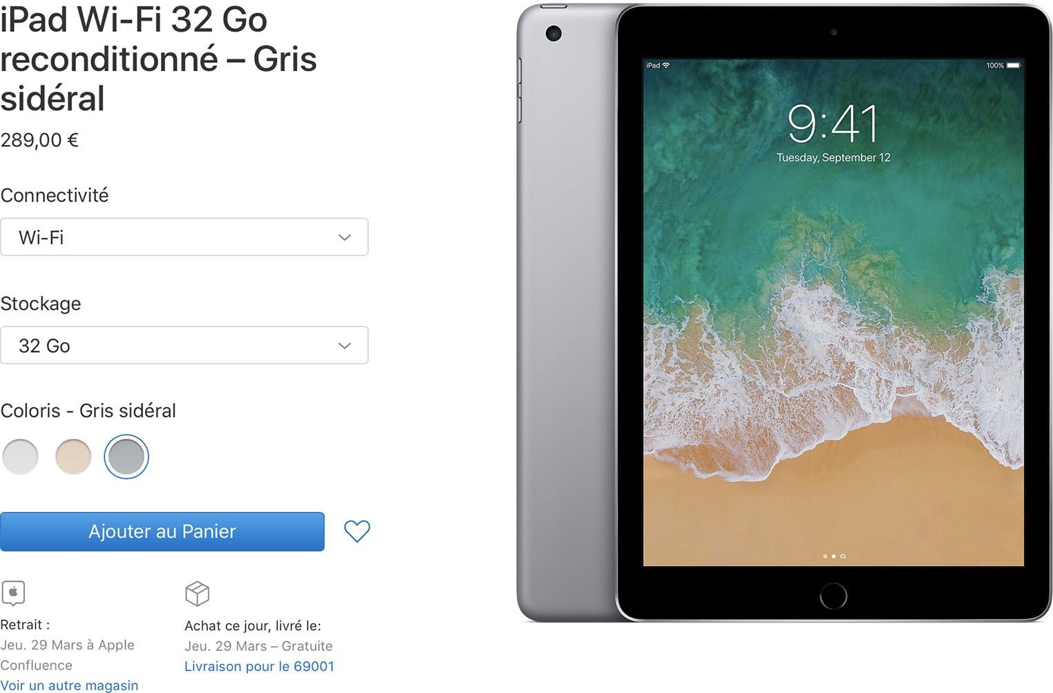 iPad 2017 baisse prix Refurb Store