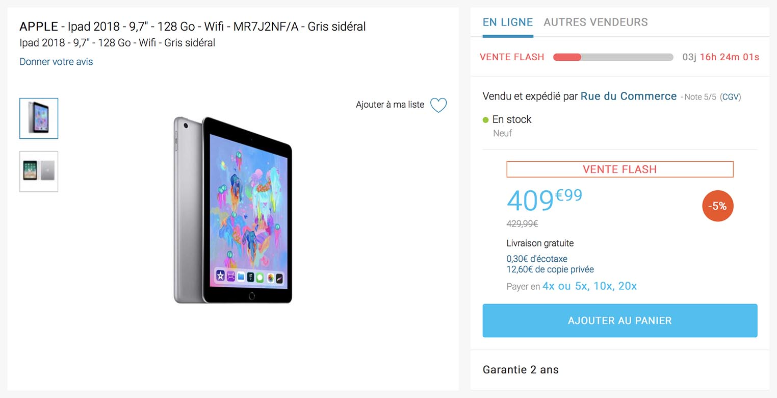 iPad 2018 vente flash Rue du Commerce