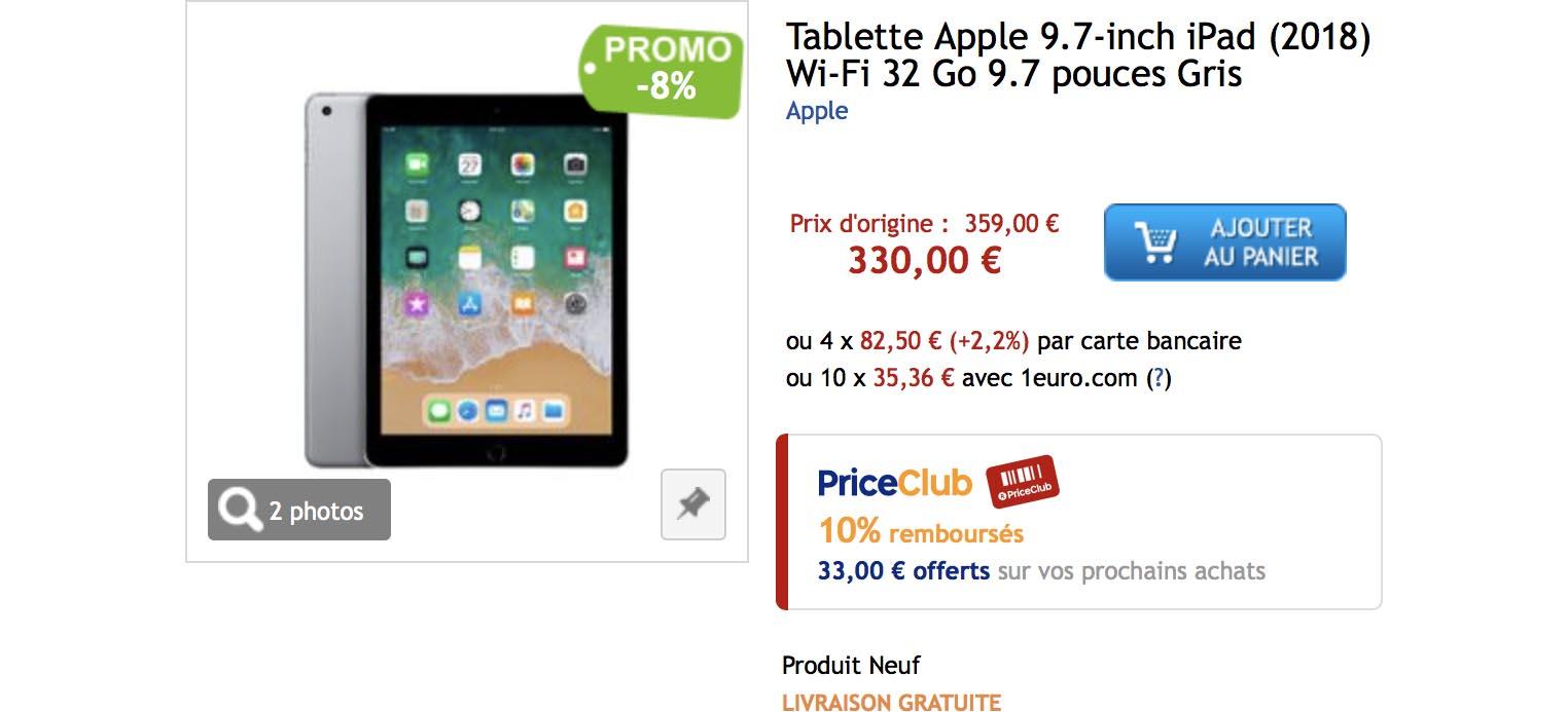 iPad 2018 PriceMinister