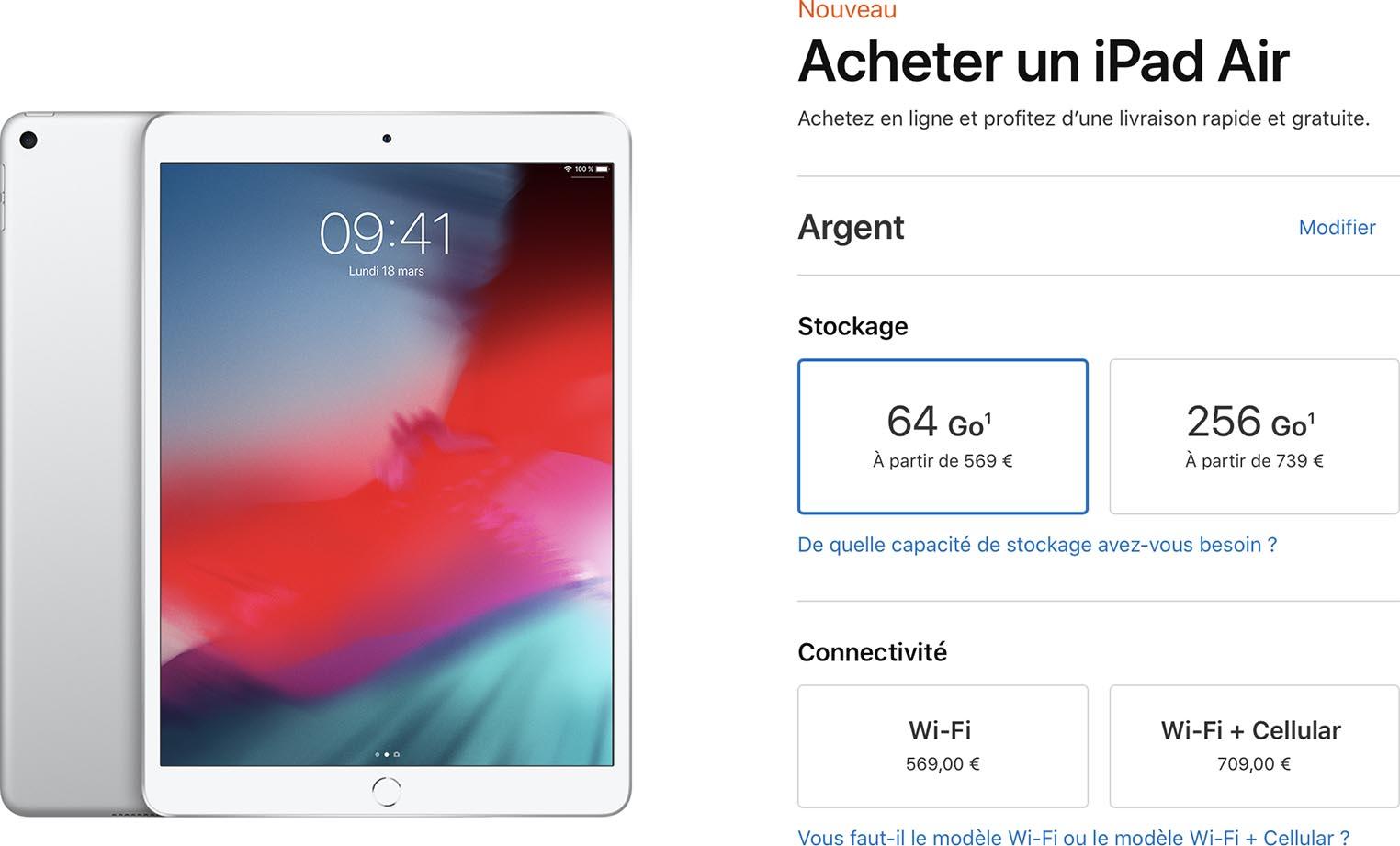 iPad Air 2019 prix