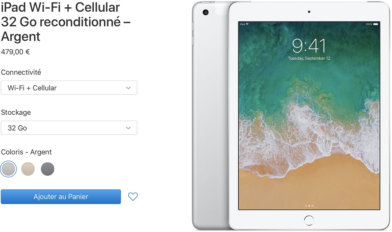 iPad 2017 cellulaire Refurb Store