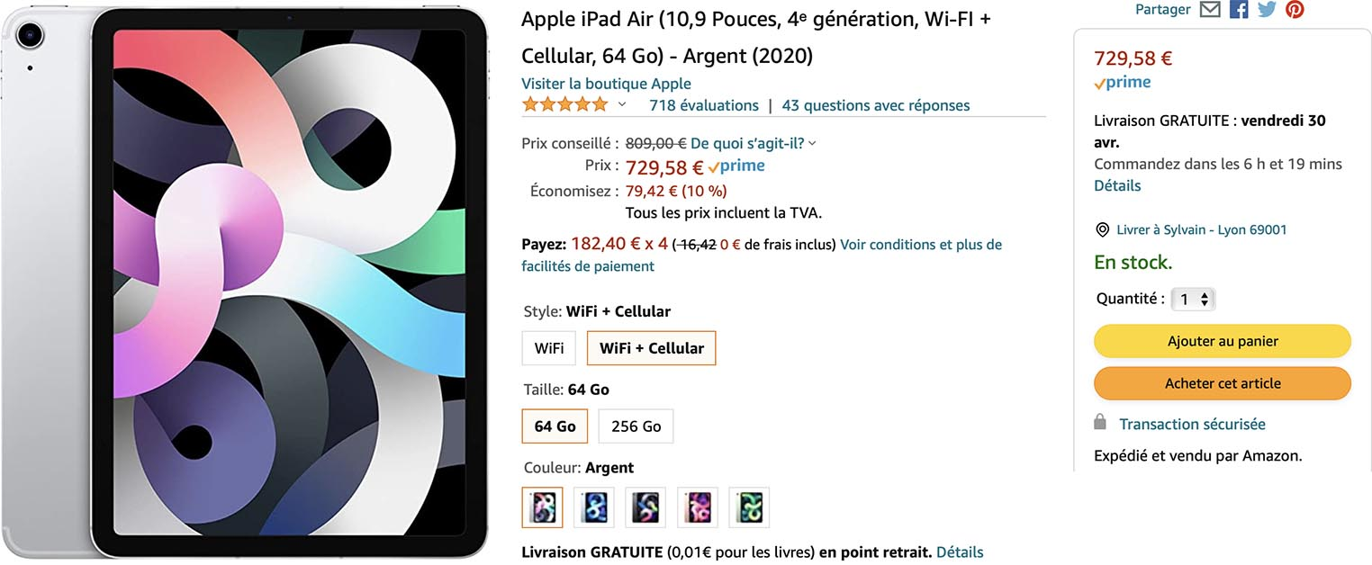 iPad Air 4 argent Amazon