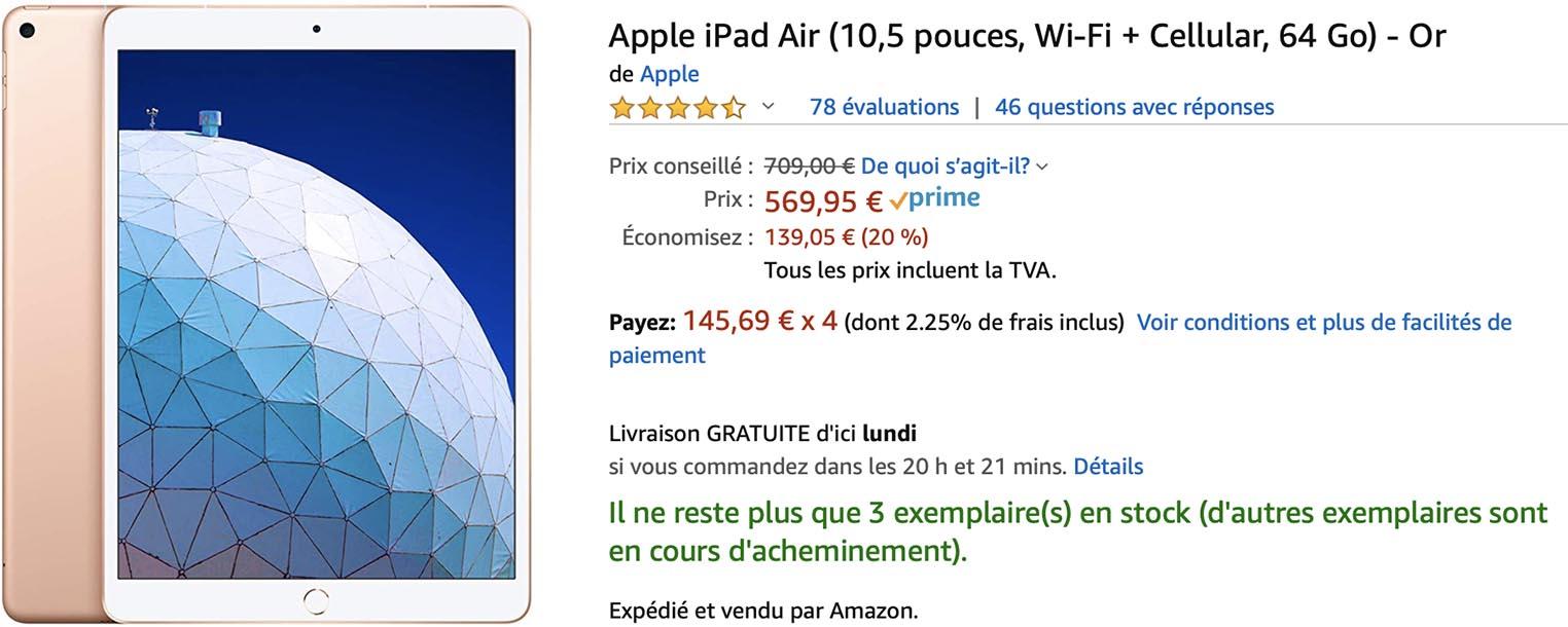 iPad Air 3 cellulaire Amazon