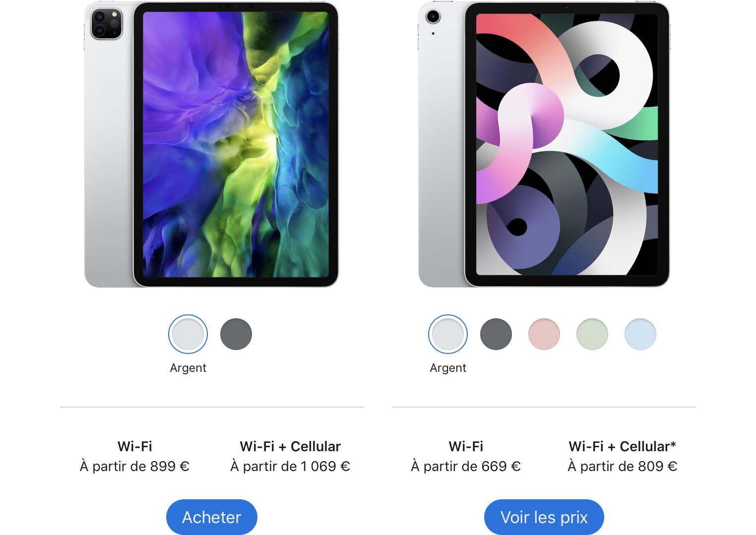 Comparaison prix iPad Air 4 iPad Pro