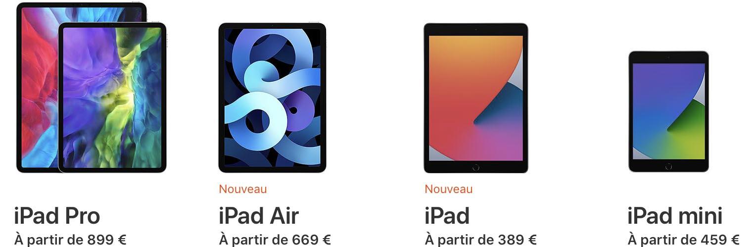 Gamme iPad 2020