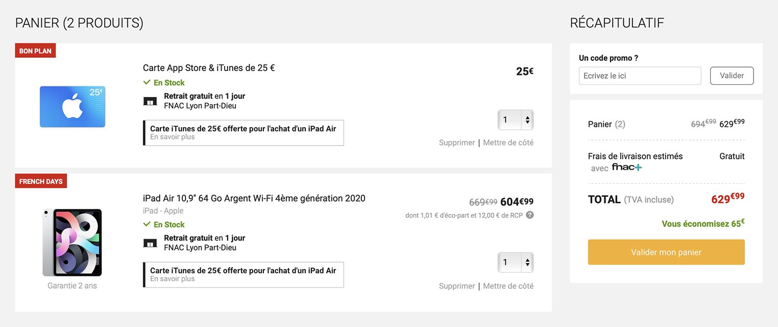 iPad Air carte iTunes offerte Fnac
