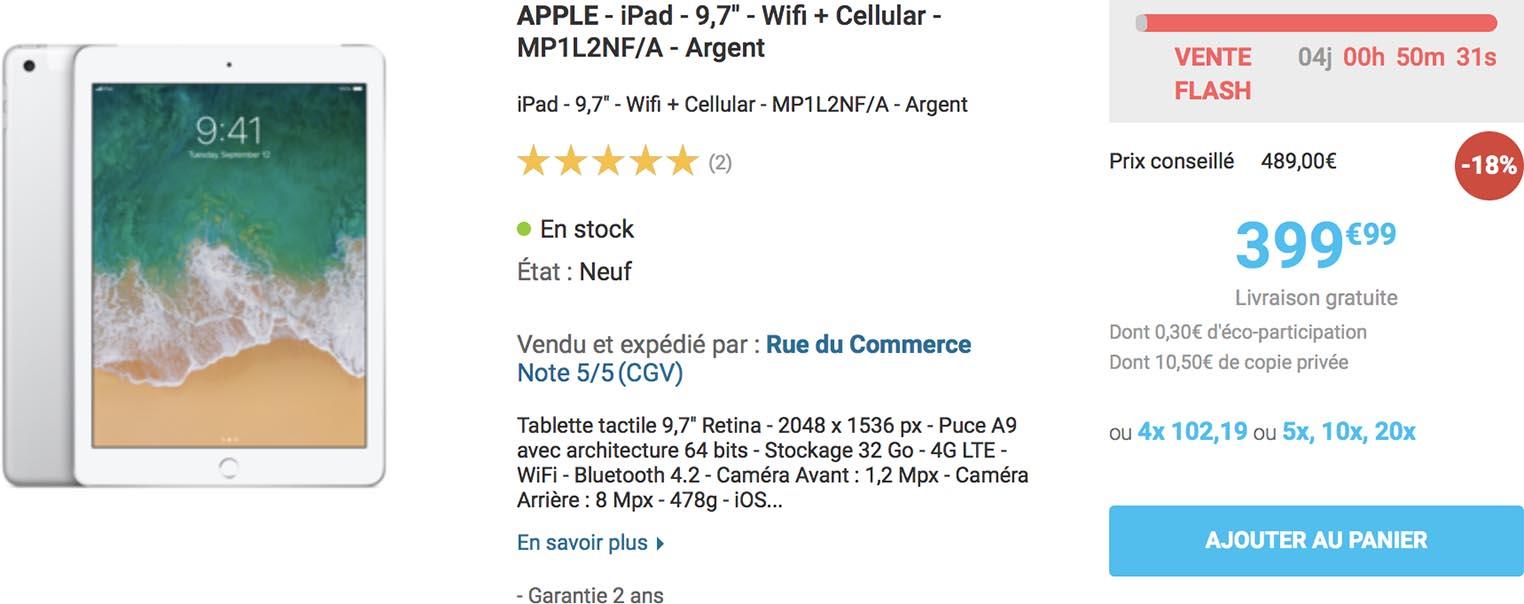 iPad cellulaire promo Rue du Commerce