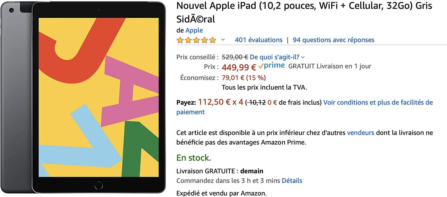 iPad cellulaire Amazon
