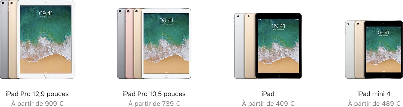 Gamme iPad 2017