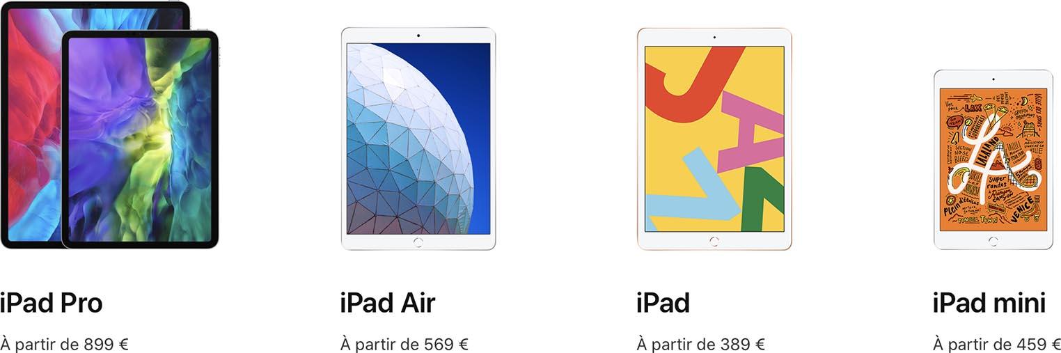 iPad gamme 2020